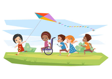Illustration pour Joyful disabled children and healthy run and run kite outdoors on the grass - image libre de droit