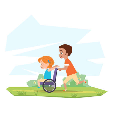Illustration pour Happy children play in nature. A boy is riding a disabled girl in a wheelchair in the countryside - image libre de droit