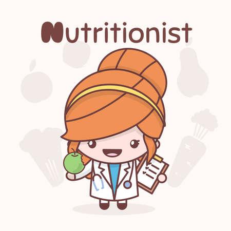 Illustration pour Cute chibi kawaii characters. Alphabet professions. The Letter N - Nutritionist. Flat cartoon style - image libre de droit