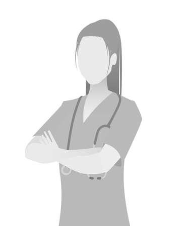 Ilustración de Default placeholder doctor half-length portrait photo avatar.  Gray color - Imagen libre de derechos