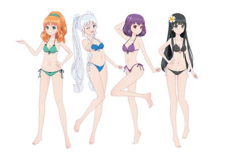 Group of beautiful anime manga girls in bikinis in different poses. Winks, smiles