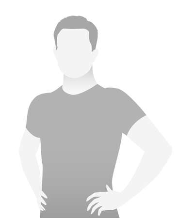 Ilustración de Default placeholder fitness trainer in a T-shirt. Half-length portrait photo avatar. gray color - Imagen libre de derechos
