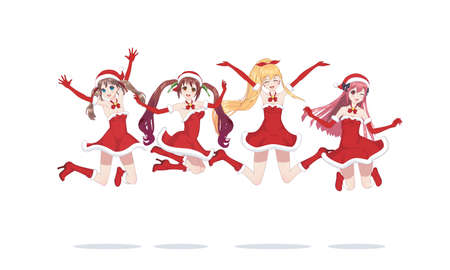 Illustrazione per Joyful anime manga girls dressed as Santa girls, bounces. Jumped into a jump. with santa hat winter cap - Immagini Royalty Free