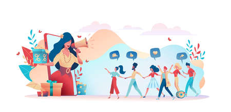 Illustration for Girl from phone speaks loudspeaker, holds gifts box. Friends holding hands. Group people looks at large girl. Metaphor refer a friend. Concept referral program, landing page. Vector flat illustration - Royalty Free Image