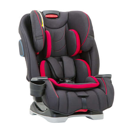 Foto de Black and Red Child Safety Seat Isolated on White Background. Front Side View of Modern Soft Baby Restraining Car Seat. Babies Side Impact Protection Infant Restraint System - Imagen libre de derechos