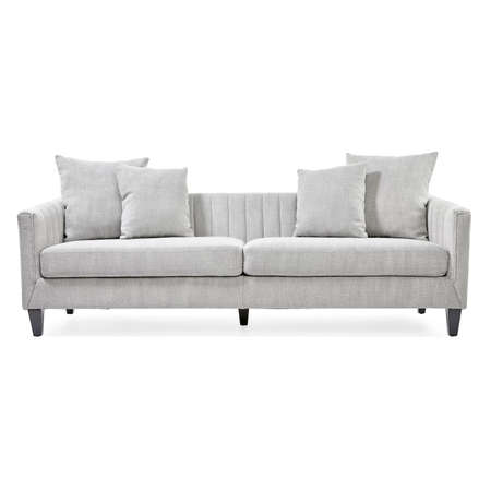Light Gray Mid Back Linen Sofa Bed Isolated on White. Interior Furniture Modern Design. Upholstered Loveseat with Armrests and Seat Cushion Front View. Two 2 Seater Couch with Four Scatter Pillows