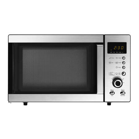 Photo pour Microwave Oven Isolated on White Background. Stainless Steel Over-The-Range Microwave Grill 23L  800W with Control Lockout Option. Domestic Electric Kitchen Small Appliances Front View - image libre de droit