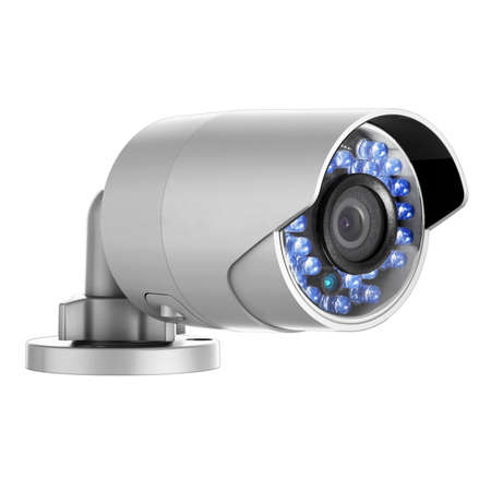 Photo for CCTV Camera Isolated. Wall & Ceiling Mounted 1080p Wi-Fi Bullet IR Camera. Indoor & Outdoor Security IP Closed Circuit Television Camera. Surveillance System. Lipstick Cam. Digital Equipment - Royalty Free Image