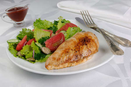 Tender chicken schnitzel with vegetable garnish
