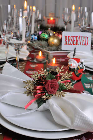 Decorative folded napkin on the Christmas table