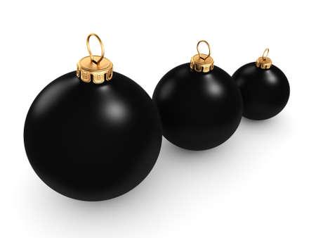 3D rendering Black mat christmas ball on  white background