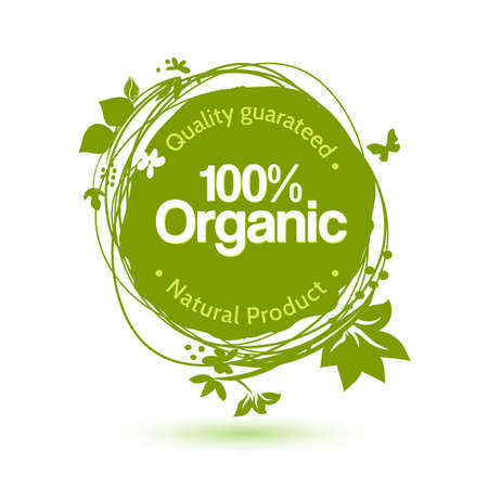 Vector watercolor sketch label for organic product. Hand drawing food and drink sticker. Farm offer design element.