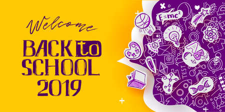 Illustration for Back to School banner with line art icons of education, science objects on paper art cut out icons. Vector hand drawn doodle style illustration. hand lettering symbol of education - Royalty Free Image