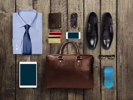 Photo pour business clothes on a wooden background - image libre de droit