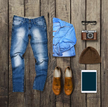 clothes and accessories on brown Wood Background