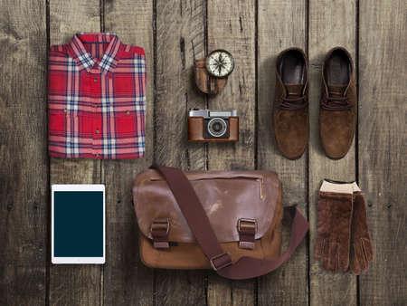 Photo pour hipster clothes and accessories on a wooden background - image libre de droit