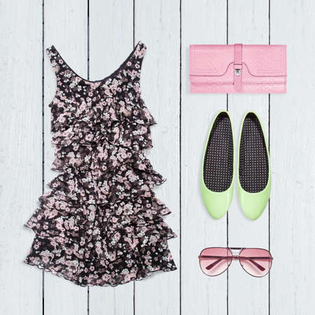 Photo pour Collage of summer clothes - image libre de droit