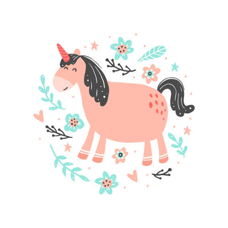 Illustration pour Unicorn of simple trendy cartoon style with elements. Unicorn of pink color for kids and magic textile, bag, t-shirt design. Isolated vector illustration. - image libre de droit