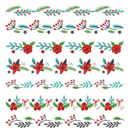 Illustration pour Set of christmas floral decoration border with flower, leaves, berries. Illustration for christmas frame and brush design. - image libre de droit