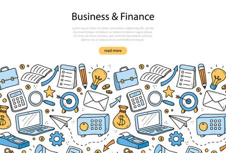 Illustration for Hand drawn banner of business and finance elements, coin, calculator, piggy, money. Doodle sketch style. Business element drawn by digital pen. Illustration for banner, flyer, frame design template. - Royalty Free Image