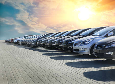 Photo for Cars For Sale Stock Lot Row. Car Dealer Inventory - Royalty Free Image
