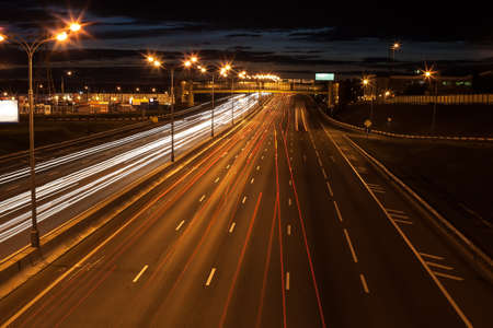 Photo for night wide highway with moving cars - Royalty Free Image