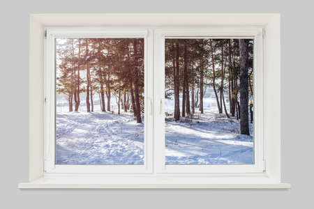 Photo pour View from the window to the winter forest illuminated by the sun - image libre de droit