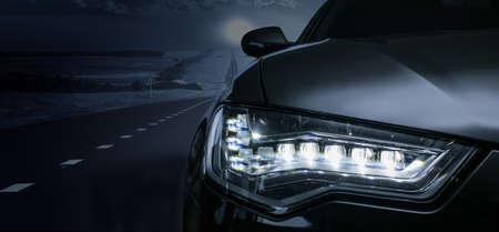 Photo pour Black car on a moonlit night. Detail close-up. - image libre de droit