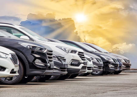Photo for Cars For Sale Stock Lot Row. Car Dealer Inventory. - Royalty Free Image