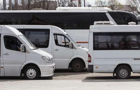 Photo pour Different Buses in the Parking lot close-up - image libre de droit