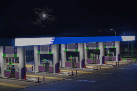 Photo for Gas station without cars at night close-up - Royalty Free Image