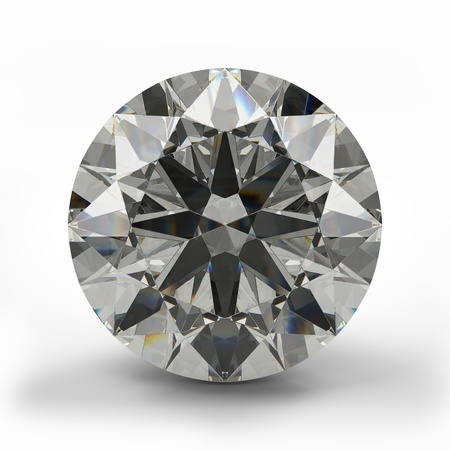 Top view of round diamond  Beautiful sparkling diamond on a light reflective surface  High quality 3d render