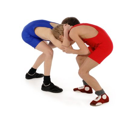 Photo pour two wrestlers Greco-Roman wrestling on the white background - image libre de droit