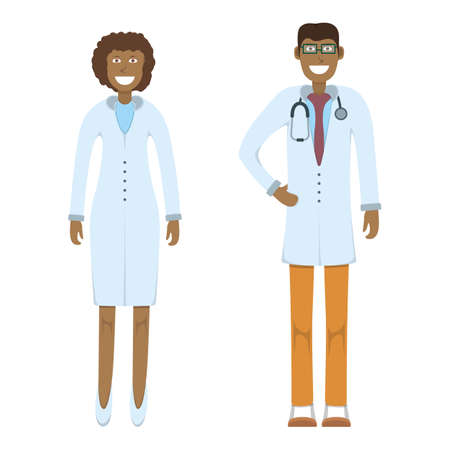 Illustration for Character doctor standing isolated on white, flat vector illustration. Human male and female important physician professional activity, smiling people profession, social occupation. - Royalty Free Image