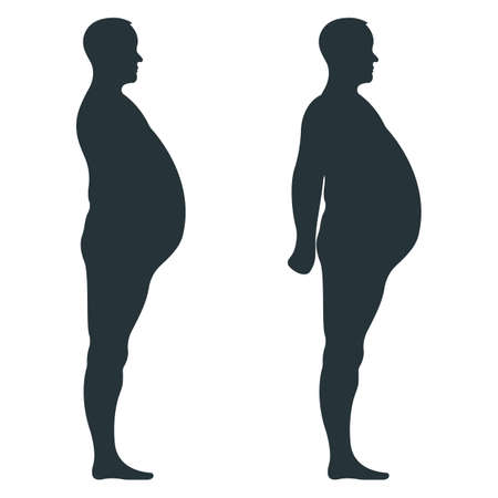 Illustration for Black view side body silhouette, fat extra weight male anatomy human character, people dummy isolated on white, flat vector illustration. Mannequin people scale concept, unhealthy lifestyle. - Royalty Free Image