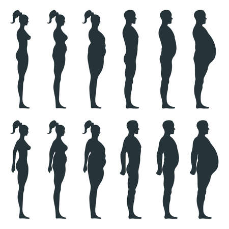 Illustration for Black view side body silhouette, fat extra weight female, male anatomy human character, people dummy isolated on white, flat illustration. Mannequin people scale concept, unhealthy lifestyle. - Royalty Free Image