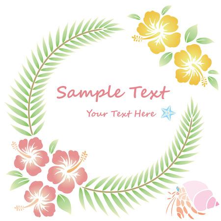 Illustration pour hibiscus flowers wreath - image libre de droit