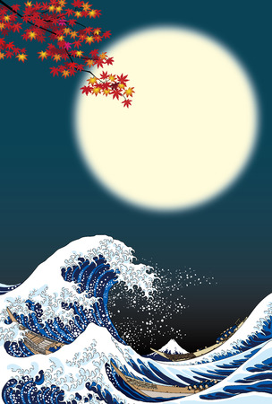 Illustration for The great wave and full moon - Royalty Free Image