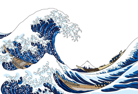 Ilustración de The great wave, isolated on white background. - Imagen libre de derechos