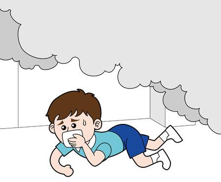 Illustration pour A boy crawling under smoke of a fire - image libre de droit