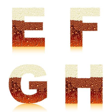 alphabet dark beer EFGH