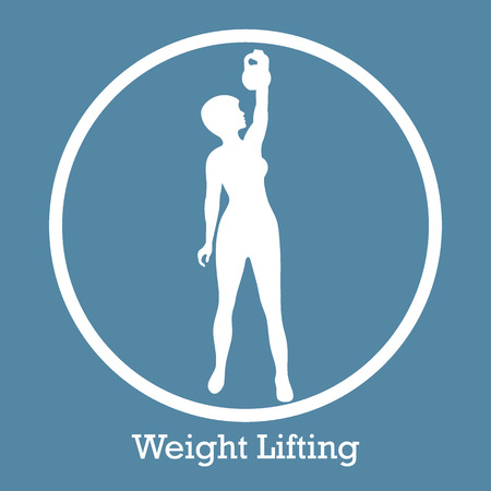 Stylized icon of fitness sport athletic woman holds kettlebell. Training female body. Design for banner, poster or print.