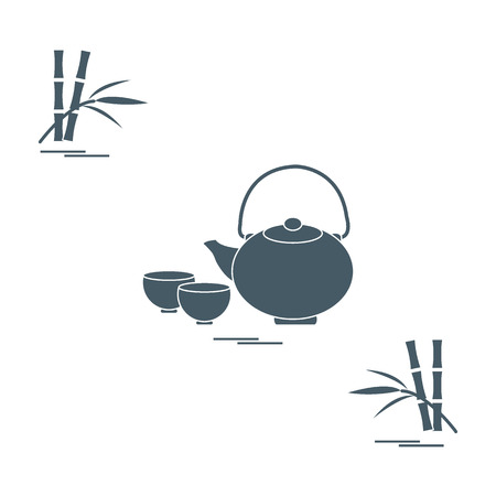 Illustration pour Stylized icon of the teapot with two cups and bamboo. Tea ceremony. Design for banner, poster or print. - image libre de droit