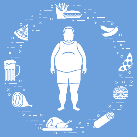 Fat man with unhealthy lifestyle symbols around him. Harmful eating habits. Design for banner and print.
