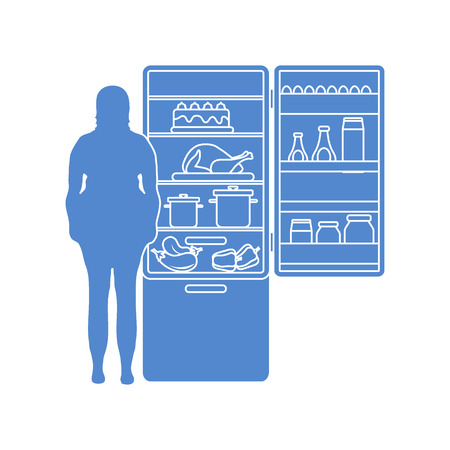 Fat woman stands at the fridge full of food. Harmful eating habits. Design for banner and print.