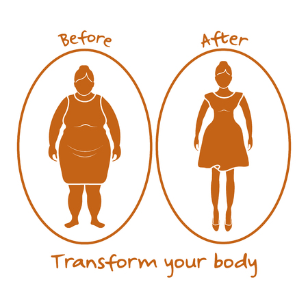 Fat woman and shapely woman. Transform your body. Sport and proper nutrition with excess weight and obesity.