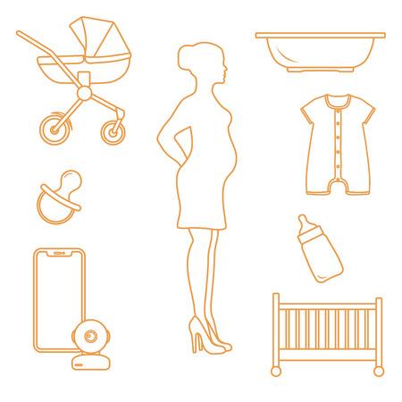 Foto de Pregnant woman and goods for babies. Stroller, crib, baby monitor, bottle, pacifier, bath for children, overalls. - Imagen libre de derechos