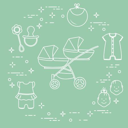 Foto de Goods for babies. Stroller for twins, faces boy, girl, rattle, pacifier, bib, overalls. - Imagen libre de derechos