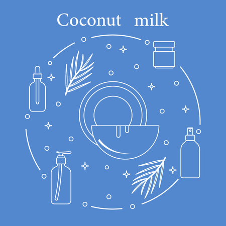 Illustration for Coconut milk for cosmetics and care products. Glamour fashion vogue style. - Royalty Free Image