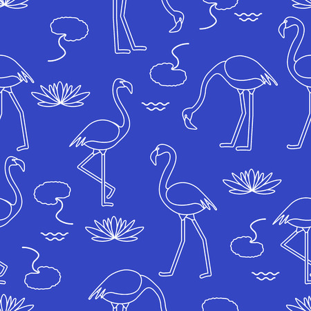 Illustration pour Seamless pattern with flamingo, flowers and leaves water lilies. Design for poster or print. - image libre de droit
